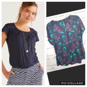 Boden Ravello Bird Print Silk Blend Blue Green Top